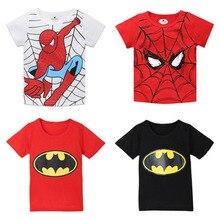 Для мальчиков по мотивам комикса «Человек-паук»; футболка детская с коротким рукавом «Супергерои»; футболки с рисунками из мультфильмов для девочек Детская Костюмы с Бэтменом для девочек; из хлопка