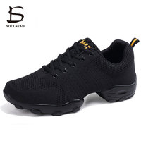 Modern Jazz Dance Shoes Men Mesh Breathable Dance Sneakers Soft Rubber Sole Black White Fitness Sports Dancing Shoes Size 39 44
