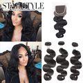 Peruvian virgin hair with closure Body Wave closure with bundles set 3pcs hair bundle with 1pc 4X4 lace closure Free Shipping