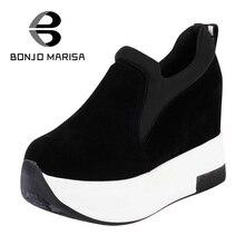 bonjomarisa  arrivals  solid plain round toe lace up sporting thick platform pumps women fashion cassual shoes women
