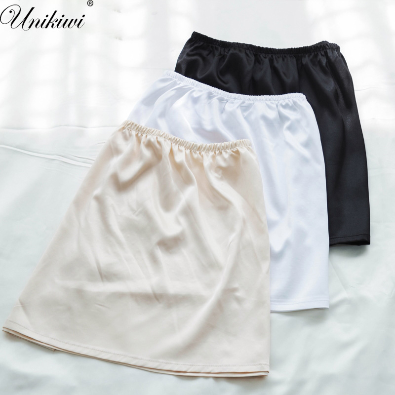 UNIKIWI.Summer Slips Women's Casual Mini Skirts.Ladies Basic Skirt Underdress Vestidos Loose Half Slips Petticoat Underskirt