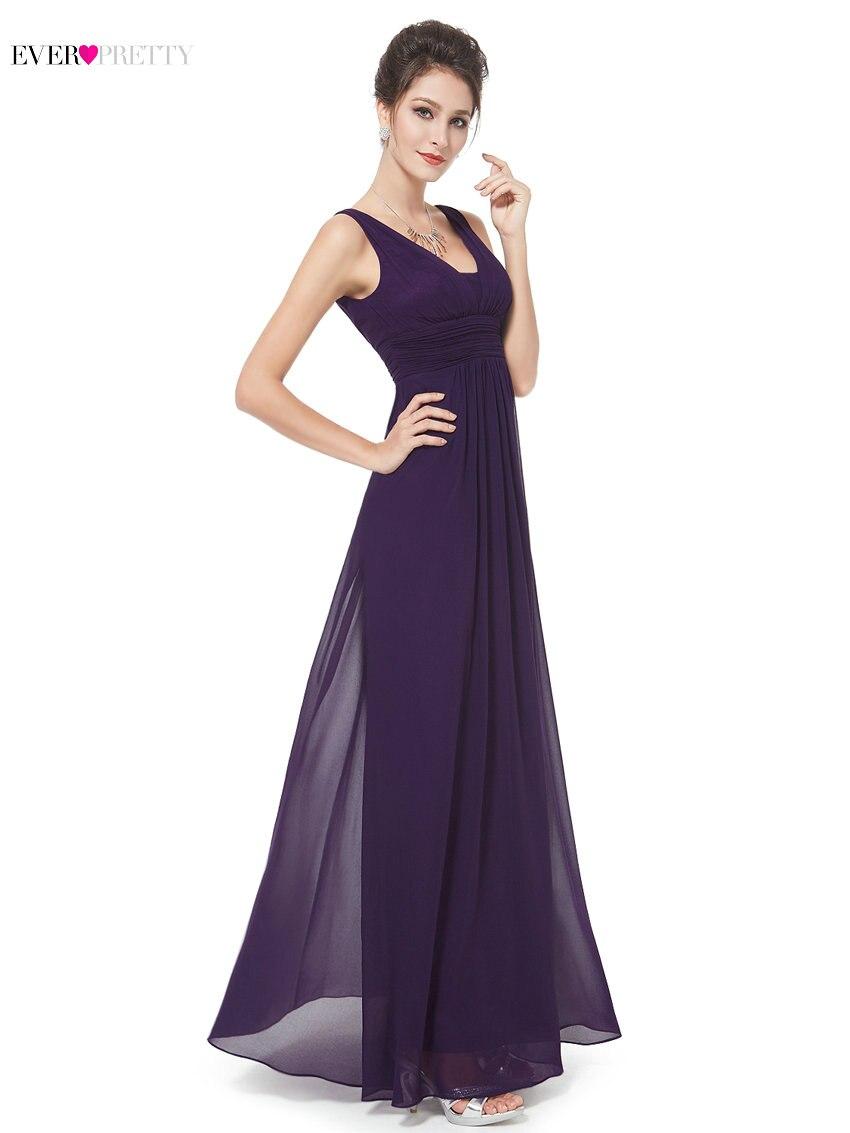 fb375eb47a Elegante púrpura de dama de honor vestido bonito EP08110 una línea ...