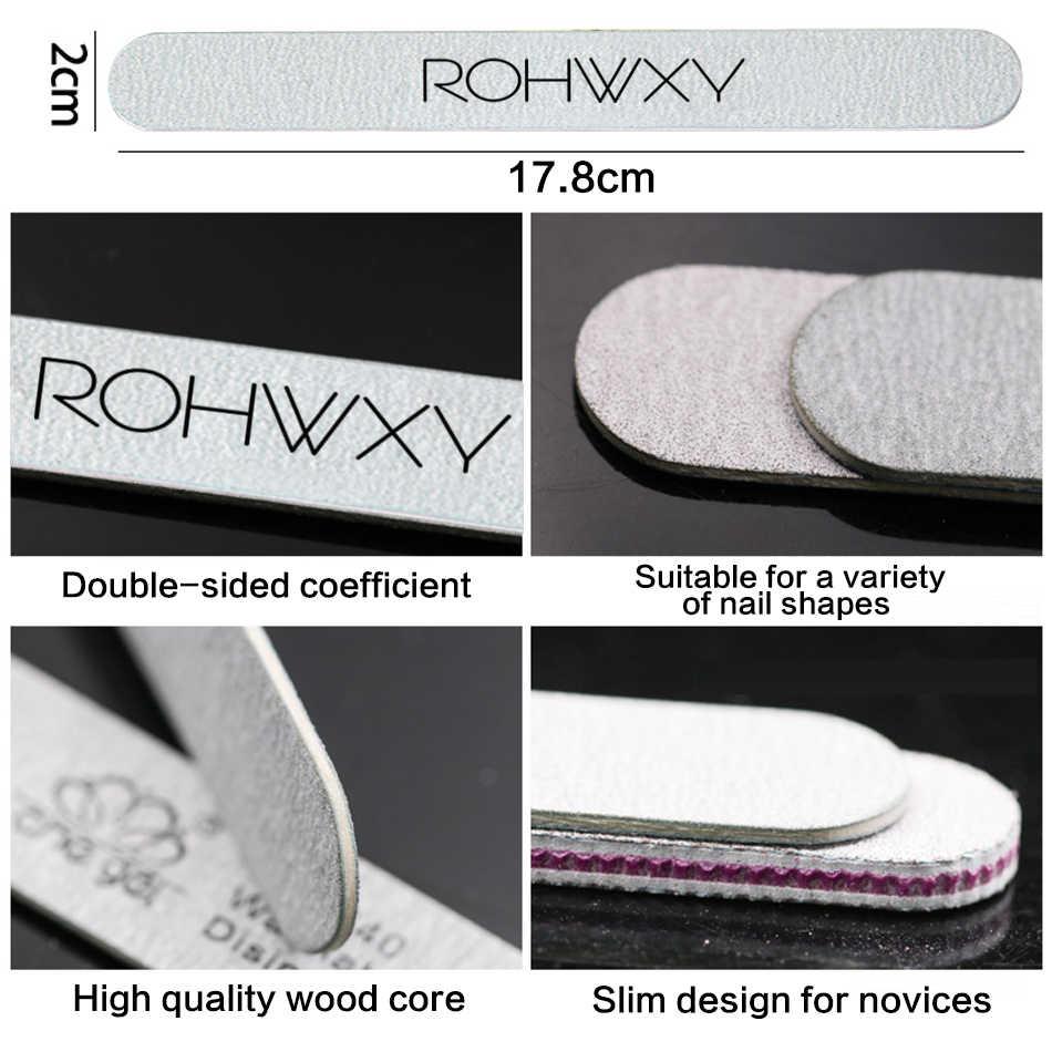 ROHWXY 8 יח'\סט נייל קבצי מברשת עמיד מרוט חצץ חול פינג נייל אמנות כלי אביזרי מלטש קובץ UV ג 'ל פולני כלים סט