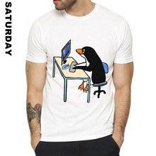 The LINUX Penguin In A Computer Design Funny T Shirt for Men