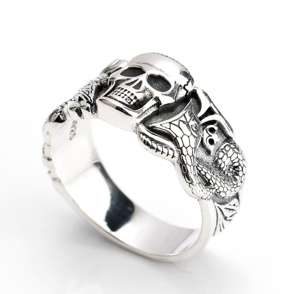 925 Sterling Silver Skull Ring for Men Evil Devil with Snake Pattern Punk Style Finger Ring Men Fashion Jewelry