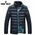 Tangnest homens parka inverno 2017 nova chegada de moda confortável quente dos homens para baixo casaco jaqueta 4 cores sólidas casual masculino mwm1401