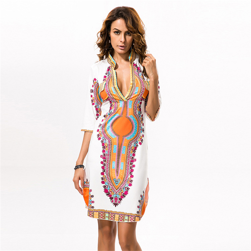 African Dresses For Women 2020 News Dashiki Print Bazin V-neck Robe Africaine Ladies Clothes Female Dress Party Rich Clothing