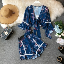 NiceMix New Fashion Women Sets Blue And White Porcelain Printing Summer Casual Womens Suit Crop Top Shorts 2 Piece