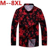 10XL 8XL 6XL Retro Floral Printed Man Casual Shirts Fashion Classic Men Dress Shirt Breathable Men