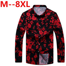 10XL 8XL 6XL Retro Floral Printed Man Casual Shirts Fashion Classic Men Dress Shirt Breathable Men's Long Sleeve Brand Clothing