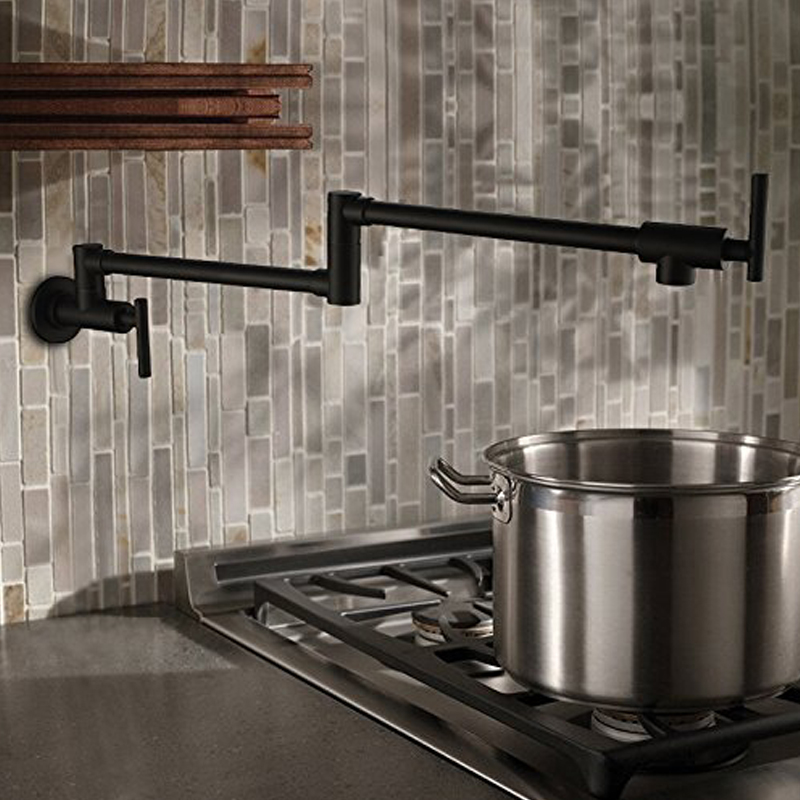 100% Solid Brass Pot Filler Tap Wall Mount Kitchen Faucet Single Cold Single Hole Tap Chrome Nickel  Alba Black подвесной унитаз ifo special rp731300100 page 5