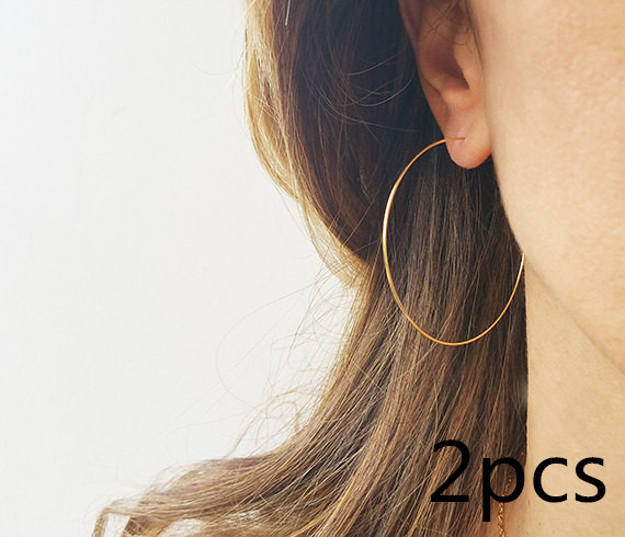 2 pcs / Hoops Earrings handmade Big Wire sterling fashion basketball Thin For Women wholesale birthday gift