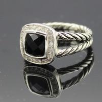 925 Sterling Silver Amethyst Black Onyx Blue Topaz Citrine Sapphire Garnet Peridot White Agate Morganite 7MM Ring Women Ring