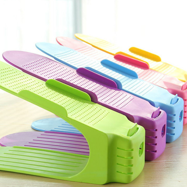 1Pcs Shoes Organizer Double Layer Plastic Shoe Rack Shoe Drawer Home Storage Convenient Shoebox E2S