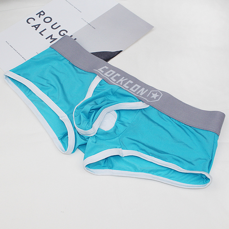 Cockcon Separate Pouches Men Boxer Shorts Underwear Penis Hole Ice Silk Underpants Male Crotchless Sexy Panties Erotic Thin