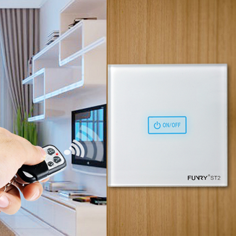 FUNRY EU/UK Remote control Switch,Touch Sensor Switch, AC110V~220V wall light switch For smart home, 1 gang 1way wifi switch smart home uk standard crystal glass panel wireless remote control 1 gang 1 way wall touch switch screen light switch ac 220v