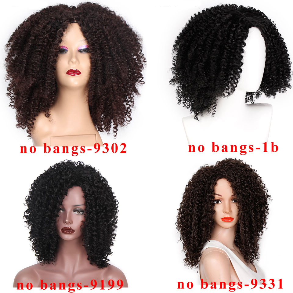 Image 2 - 14 Inches Short Afro Wig Brown Synthetic  kinky Curly Wigs for Women 10 Colors Ombre Fluffy  African American Natural Black HairSynthetic None-Lace  Wigs   -