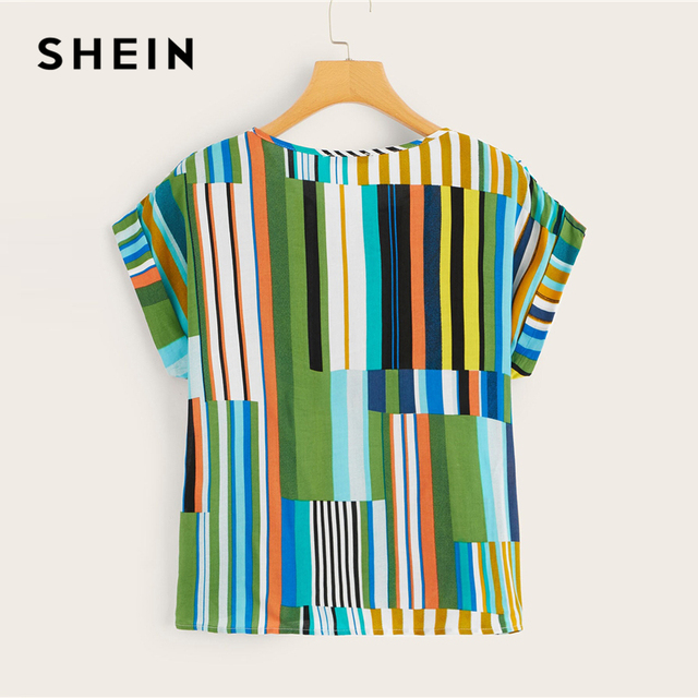 SHEIN Plus Size Multicolor Colorful Striped Top Blouse 2019 Women Summer Casual Short Sleeve Round Neck Big Size Blouses 2