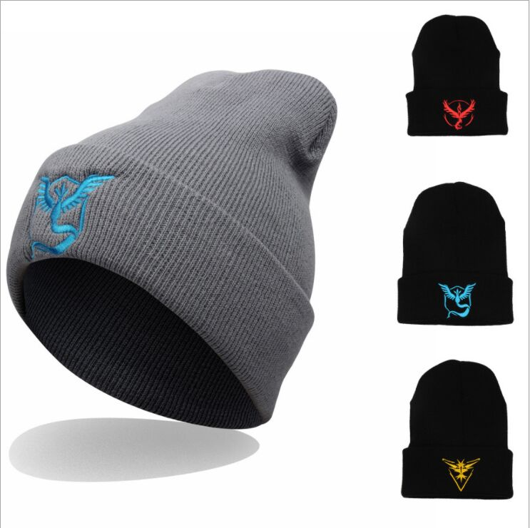 Women's Winter Unisex Pokemon go Embroidery Hip Hop Adjustable Knitted   Beanies   Caps Hip Hop Knit Hat   Skullies   Bonnets for lady