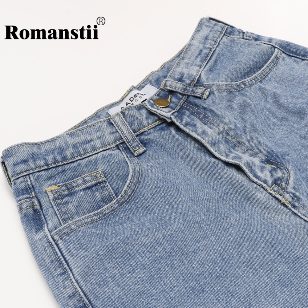eec3c65434ae Romanstii High Waist Jeans Women Autumn Winter Vintage Cotton Distressed  Washed Skinny Harem Boyfriend Jeans Female Denim Pants-in Jeans from Women's  ...