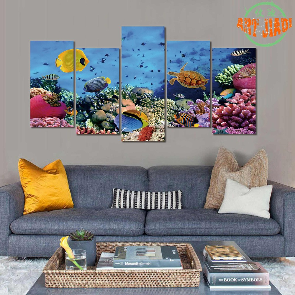 Red coral painting popular red coral print buy cheap red coral print - New 5 Piece Set Canvas Art Coral Corals In The Red Sea Hd Canvas Paintings