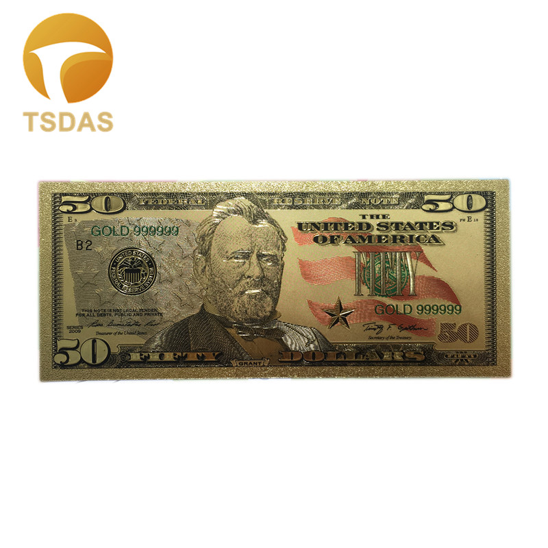 Colored US Banknotes $50 Dollars American Gold Banknote Bill Fake Money Replica For Collection 10Pcs/Set Drop Ship