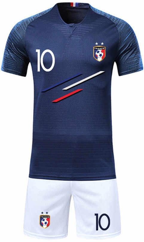 b7884288d97 ... Boy Soccer Short Sleeve 2018 France 2 Stars Training Jerseys MBAPPE  GRIEZMANN POGBA Kids Football Shirts& ...
