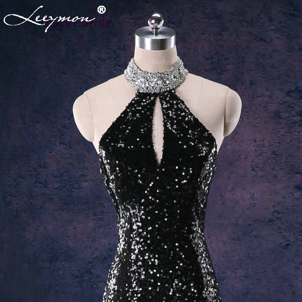E11 Real Glamorous Sexy Mermaid High Neck Rhinestone Sequins Sparkly Long  Black Engagement Celebrity Evening Dress .-in Evening Dresses from Weddings  ... 77b75e6d291b