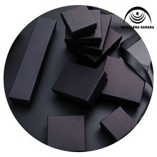 MADALENA SARARA 50pcs/lot Jewelry Box Kraft Paper Box Black Color Multi Sizes For Earrings Bracelet Necklace Storage Gift Box(China)