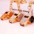 2016 Sporty Mini Whistle Keychains Rhinestone Key chain Metal Holder Wallet Bag Charm Accessories Keyrings Women Jewelry