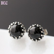 S925 pure silver stud earrings hand-set natural black stone ladies vintage Thai silver earrings for Women
