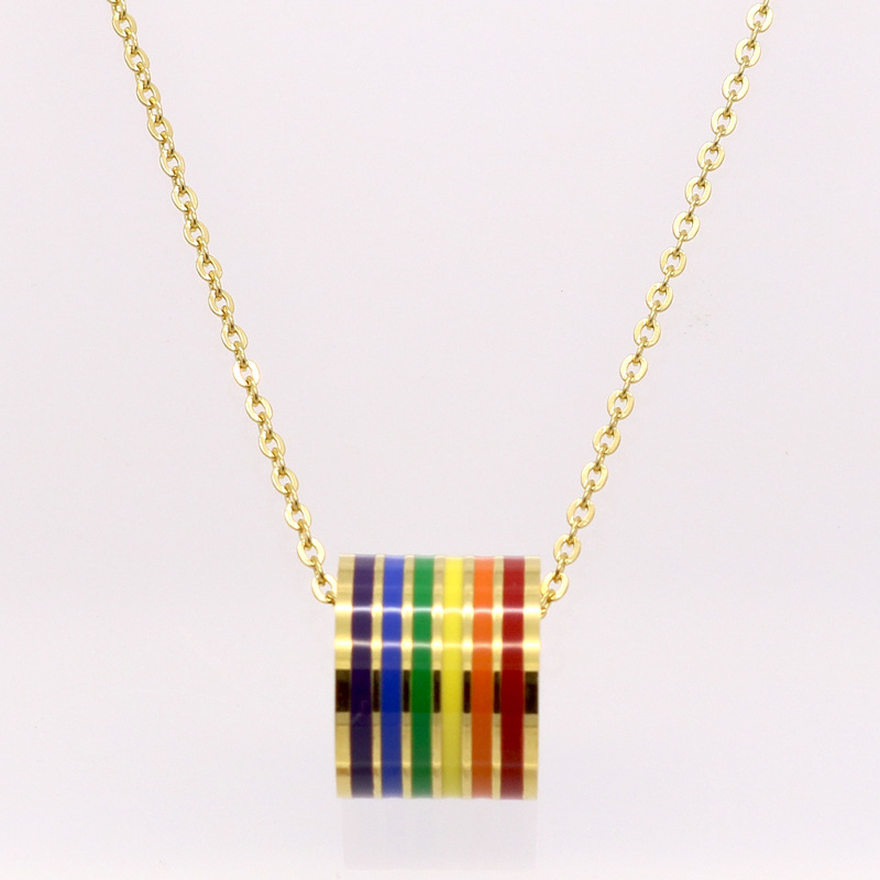 Fashion Female Circle Necklace Silver Gold Stainless Steel Colored Enamel Rainbow Circles Pendant Necklace Jewery For Women