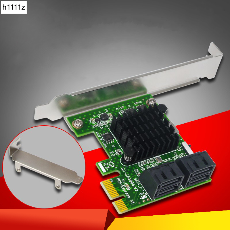 SATA3.0 PCI-Express Expansion Card 4-port SATA 6Gb PCI Express 1X PCI-E to SATA III Convert Card Adapter for SSD IPFS BTC Mining контроллер pci e x1 to 1port sata3 6gb s 1 port msata чип asmedia asm1061 pcie020b espada