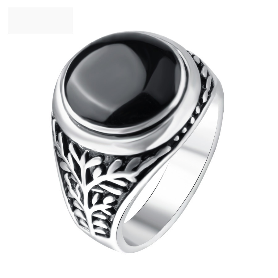 Vintage Ring Retro Black Resin Stone Finger Ring For Men Women Antique Silver Color Turkey Jewelry Maxi Anillos Bague Femme titanium ring