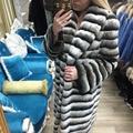 32948702230 - FURSARCAR 2020 nueva Chaqueta de piel de conejo Rex de lujo con Cuello de piel cálido abrigo de piel Real gruesa mujeres invierno Natural Chinchilla Fur