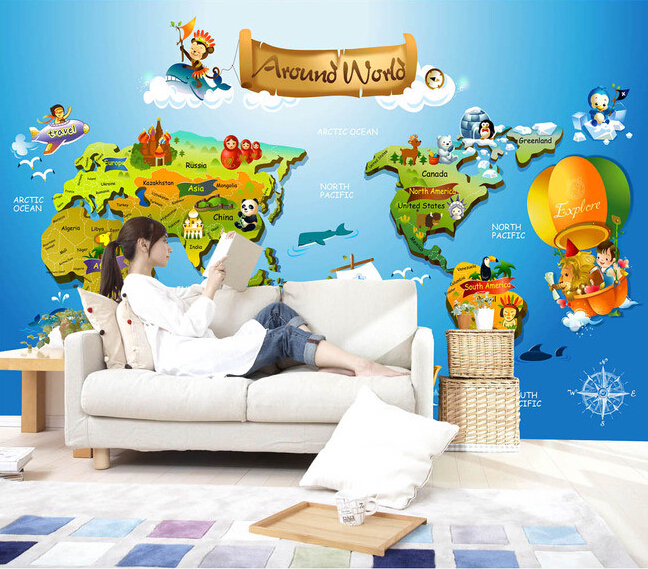 Custom papel DE parede infantil, 3 d cartoon map murals for boys and girls bedroom children room background wall wallpaper custom papel de parede infantil spiderman 3 d mural for bedroom of children room background wall silk cloth wallpaper