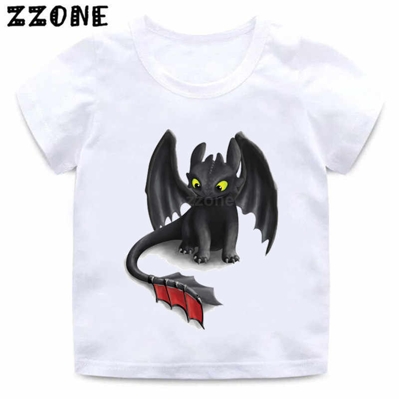 Boys/Girls Toothless The Night Fury Cartoon Print T shirt Kids Funny Clothes Children Summer Short Sleeve Baby T-shirt,HKP5272