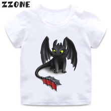 цена на Boys/Girls Toothless The Night Fury Cartoon Print T shirt Kids Funny Clothes Children Summer Short Sleeve Baby T-shirt,HKP5272