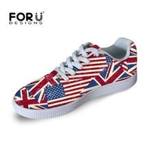 Fashion Men Women Walking Shoes UK USA Flag Print Casual Outdoor Sport Skate Shoes Ladies Couple Teenager Girls Boys Flat Shoe