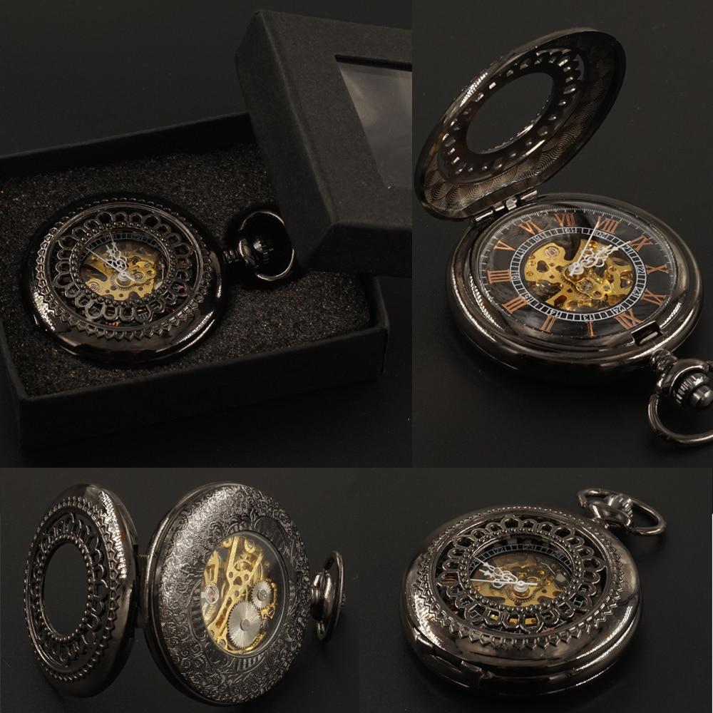 Črno cvetje mehanske žepne ure FOB veriga z darilno škatlo roko - Žepne ure