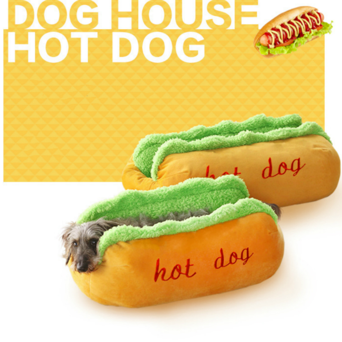 Hot Dog Dog Beds Removable Soft Mat Pet Sofa Cute Beds for  Cozy Puppy Litter Cat Sleeping Cushion Chihuahua Teddy Nest Kennel