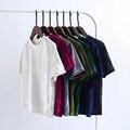 Moda Jihan Nuevo Diseño estrella de Internet Como Corta Camiseta de Las Mujeres Señoras de la manga de Terciopelo Suave Elástico O Cuello Espalda Dividida femenino