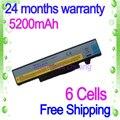 Jigu negro 6 celdas de batería para portátil lenovo 57y6625 57y6626 l10p6f01 ideapad y470 ideapad y570