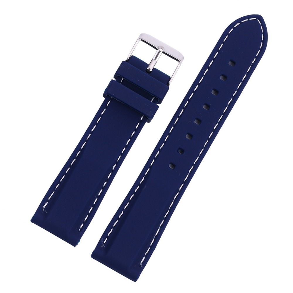 все цены на EACHE 1pc Sales Black blue 18 20 22 24mm Soft Smooth Silicone Watch Band Strap with Stitching with Stainless Steel Buckle Clasp онлайн
