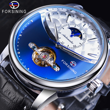 все цены на Forsining Royal Tourbillon Blue Automatic Men Watch Mechanical Moon Phase Genuine Leather Male Watches Otomatik Erkek Saat Clock онлайн