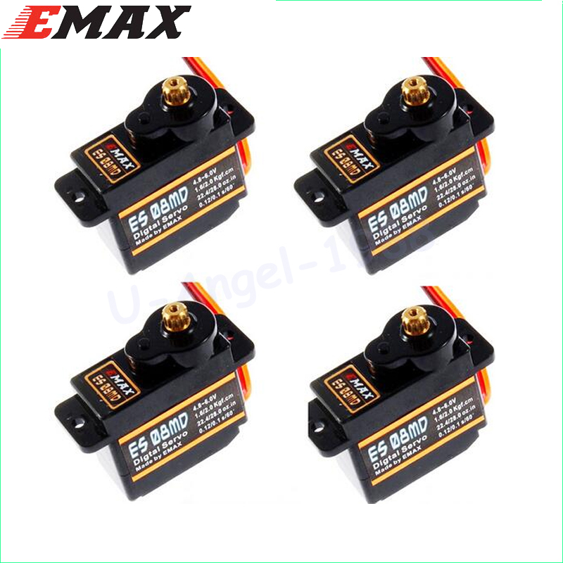 4x EMAX ES08MD Servomotor digital din metal GEAR sg90 ES08A ES08MA MG90S TREX 450 Transport gratuit