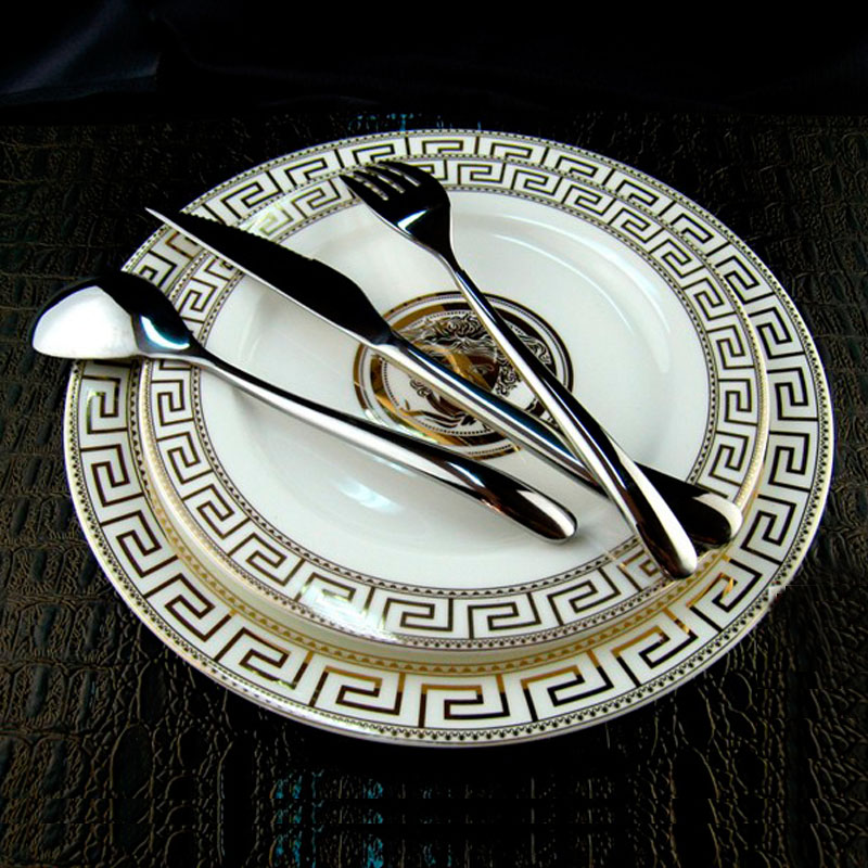 Luxury tableware set stainless steel spoons knives forks for Kitchen set plates