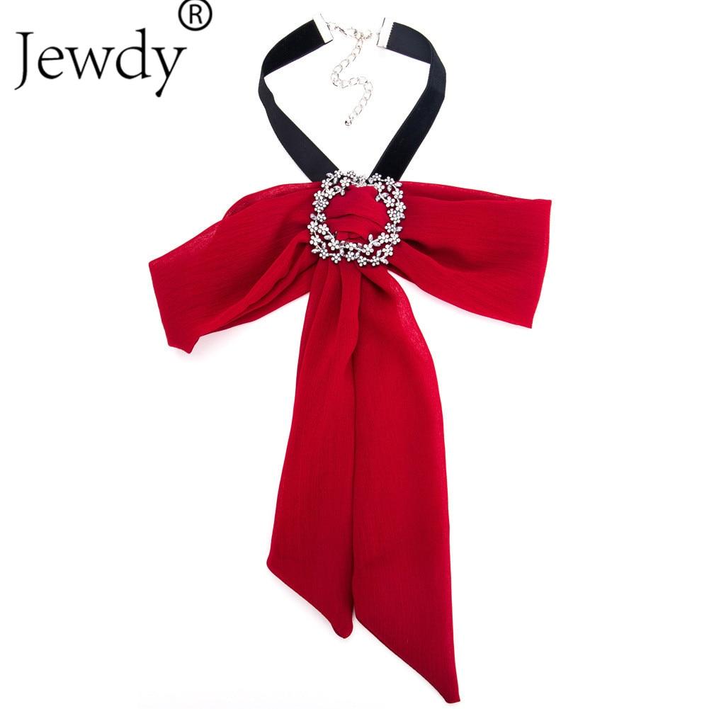 Jewdy Luxury Crystal Bowknot Necklaces Pendants New Fashion Long Velvet Cloth Rhinestone Maxi Women Statement Necklace Wedding
