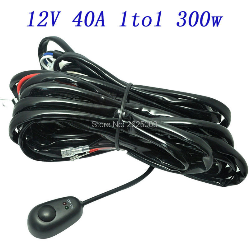 8ft For LED Light Bar HID 40A 12V Power Switch Relay Wiring Harness Kit Offroad