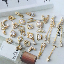 5pcs/lot Pendant/wings/chain 3D Alloy Nail Art Zircon Pearl metal manicure nail accessories DIY Decoration charms